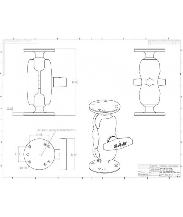 "RAM-Mounts 1,5"" Echolothalterung RAM-101U-B (Short)"