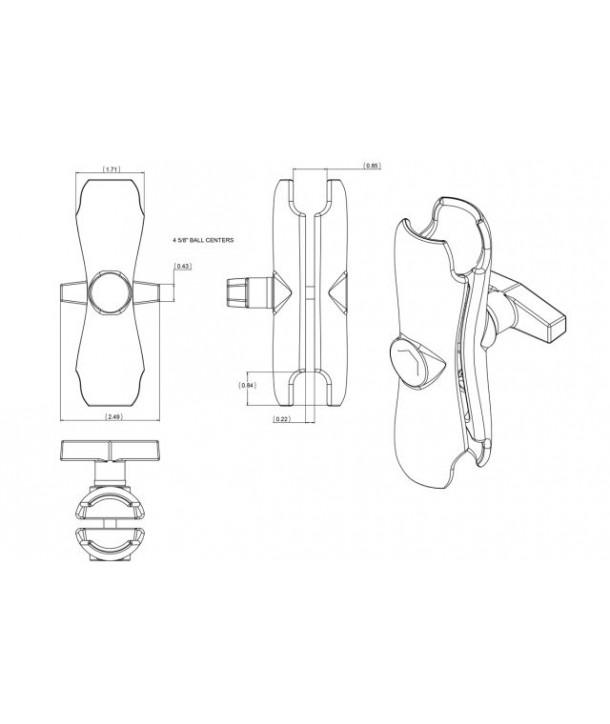 "RAM-Mounts Standard Double Socket Verbinder für 1.5"" Kugeln RAM-201U"